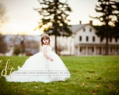 Ivory Flower Girl Dress with Detachable Train - Miniature Bride Dress