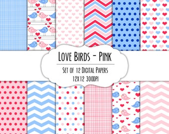 Love Birds Pink Valentine Digital Scrapbook Paper 12x12 Pack - Set of 12 - Hearts, Birds - Instant Download - Item# 8021