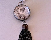 Vintage Lace with Metal Chain Tassel 30mm Glass Bubble Necklace