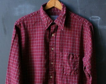 Vintage Pendleton Wool Shirt Burgundy and White Plaid From Nowvintage on Etsy
