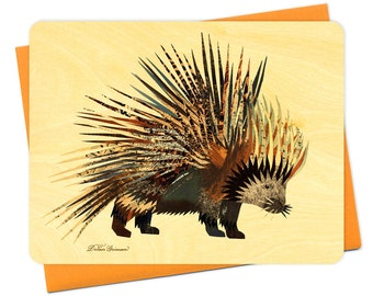 Dolan Porcupine Wood Notecard -  A Collaboration with Mixed Media Artist Dolan Geiman - Real Birch Wood Card - WC365