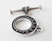 TierraCast Antiqued Silver Ox Bali Toggle Clasp Bar and Ring Tapered Finding clp0063 (1)