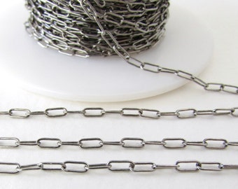Antiqued Silver Ox Chain Drawn Cable Delicate Soldered Links TierraCast 6x2mm chn0162 (1 foot)
