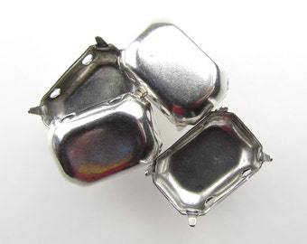 Prong Setting Antiqued Silver Ox Octagon Rhinestone Sew On Closed Back 18x13mm set0300 (4)