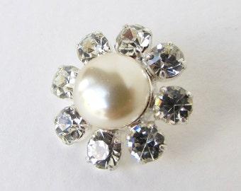 Vintage Glass Rhinestone Buttons Pearl Flower Silver Shank Czech 20mm but0271 (1)