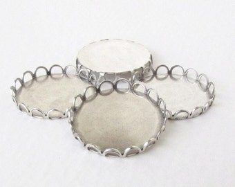 Cameo Setting Antiqued Silver Ox Round Filigree Lace Edge Setting 20mm set0240 (4)