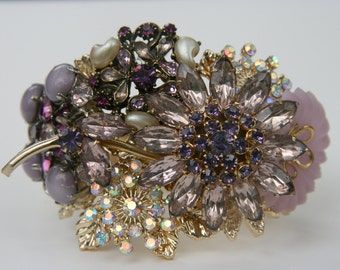 Purple Rhinestone Amethyst Wrist Corsage Chunky Cuff Bracelet