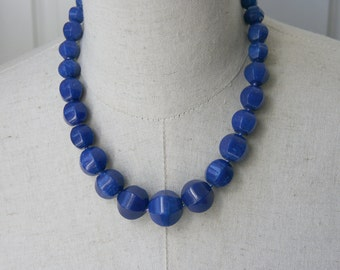Sapphire Cobalt Blue Chunky Beaded Necklace