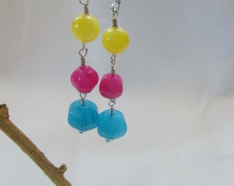 Turquoise Blue Hot Pink Yellow Gemstone Long Dangle Sterling Silver Earrings, Wire Wrapped