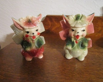 Pair Bunny Planter/vases  ~ 1950s ~ Great for EASTER decor - Excellent condition