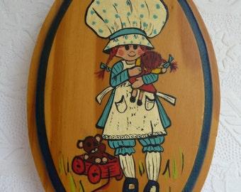 Holly Hobbie, vintage wall hanging, handmade wall art, wood plaque, Childrens decor, Nursery, vintage home decor, hanger, Cottage Chic