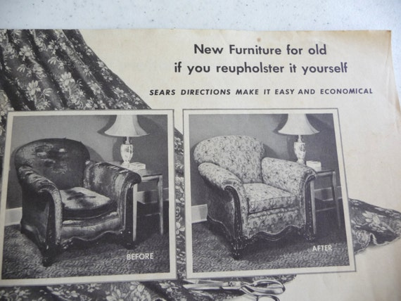 Items Similar To Vintage Sears Roebuck Vintage Brochure New Furniture For Old Upholstery