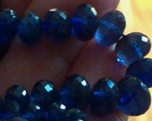 Sapphires Blue AAA 3 pieces Huge 8 mm Best Faceted Rondelles Matched pair and Focal Jewelry making Craft Supplies Gemstone Bead