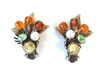 Vintage Beaded Rhinestone Earrings Amber Glass Costume Jewelry