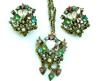 Wing Heart Vintage Faux Opal Rhinestone Colorful Glass Necklace Earrings Demi Parure