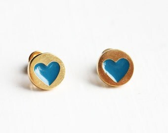 Blue and Gold Heart Dot Studs