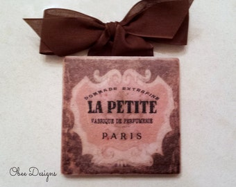 Vintage French Sign Pink and Brown Parisian Perfume Ad with Pink Crest Marble Subway Tile Sign withBrown Linen Like Ribbon Hanger
