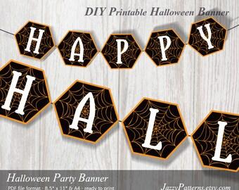 Halloween printable banner spiderweb in orange and black PB005 instant download party printable