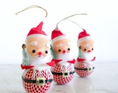 4 Vintage Santa Claus Ornaments / 1960's / Mid Century Holiday