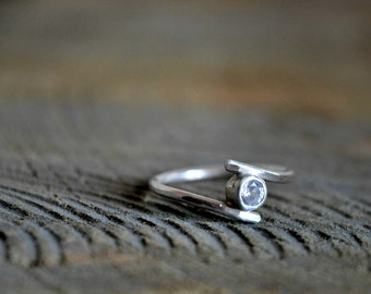 Sterling Silver Ring - cubic zirconia solitaire or engagement ring - Made to order