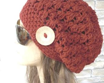 Slouchy Beanie Crochet Hat - Slouchy  Hat-  Beanie Hat  - Womens hat -  Rust Orange   Beanie  Fall Winter Accessories  Autumn Fashion