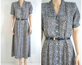 80s does 40s Vintage Midi Dress Black and White Print 40 Style Secretary Shirt Dress Semi Sheer Secretary