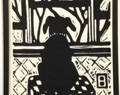 "Black Lab limited edition linocut, ""Waiting for Daddy"", black and white, hand pulled print"