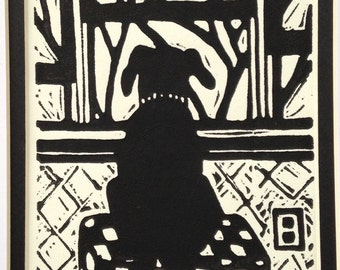 """Black Lab limited edition linocut, """"Waiting for Daddy"""", black and white, hand pulled print"""