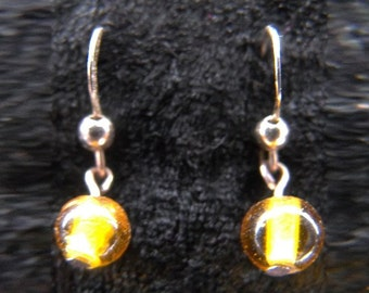 Yellow glass bead earrings in choice of silver or gold plated findings