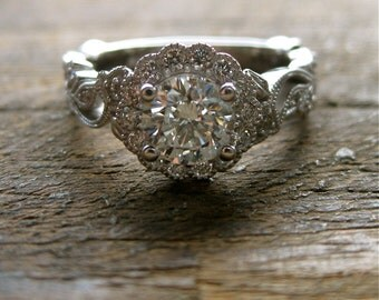 Round Brilliant Cut Diamond Engagement Ring in 14K White Gold with Diamonds in Flowers & Leafs on Vine Size 5