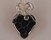Wire wrapped Heart pendant, black fossilized coral, sterling silver - P270