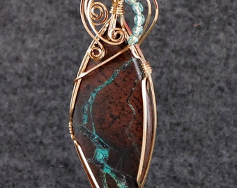"""Necklace Pendant Wire Wrapped Ribbon Turquoise from Nevada, 14k Gold Filled Wire, Brown Stone Turquoise Stripe 3"""" x1"""" seed beads  - P266"""