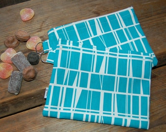 Geometric Turquoise and White Snack, Passport,  Make up, toiletry pouch bag, purse, Finland