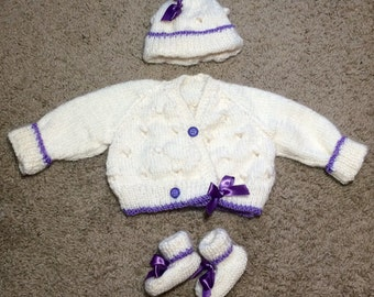 Baby Ballet-Wrap Cardi with Hat and Booties 0-3 months