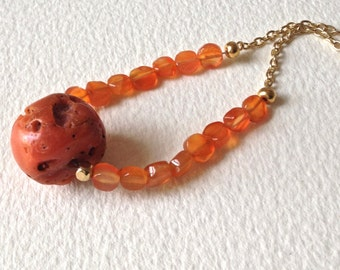 Coral Carnelian and Gold Long Necklace, Coral Colored Gemstone Pendant Necklace