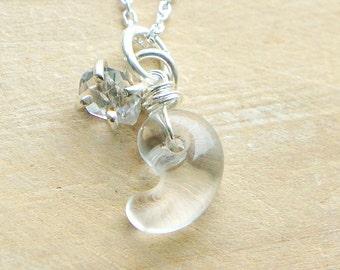 Magatama Herkimer Diamond Necklace, Japanese Jewelry, Quartz Crystal Pendant, Sterling Silver