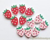 6PCS Wooden Buttons, Printed Color - Sweet Lovely Wild Strawberry Strawberries, Choose Color (6PCS)