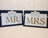 Sweetheart Table Decoration - Mr and Mrs Table Sign Navy and Gold - Ready to Ship