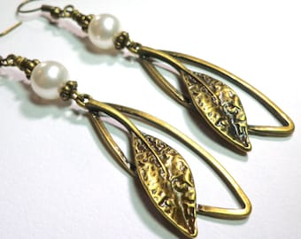 Earrings Swarovski Austrian White Crystal Pearls,  Antique Brass Leaves, Spiritcatdesigns