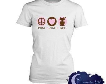 Peace Love & Cats Ladies T-Shirt