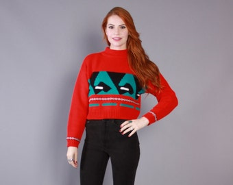 80s Chunky Knit SWEATER / 1980s Bright Red Cropped Pullover, xs-s