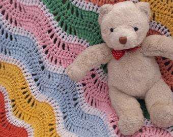 Colorful Crocheted Gentle Ripple Baby Blanket Afghan
