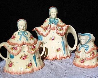 RARE - Little Old Lady Tea Set Teapot Creamer Sugar - 1930's England # 827655