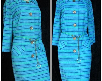 Vintage 60s 1960s Mad Men Mod Striped Barney Max Shift Dress Large Brass Buttons