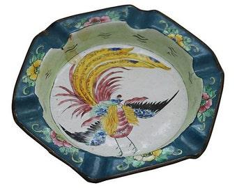 CLEARANCE - Vintage Asian-Style Bird of Paradise Enamel Ashtray / Catchall / Trinket Dish