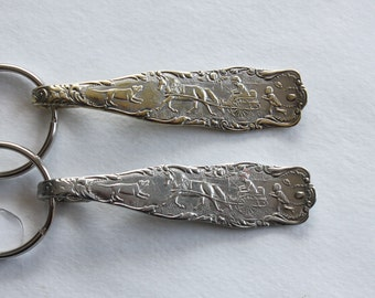 Spoon Keychain Key Ring Extremely Rare and Unique Horse and Buggy Silver Plate Silverware