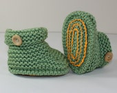 Instant Digital File pdf download knitting pattern - Toddler Simple Chunky One Button Ankle Boots