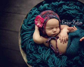 Knitting PATTERN - Basketweave Bonnet, newborn size, baby photography prop, baby shower gift, PDF instant download