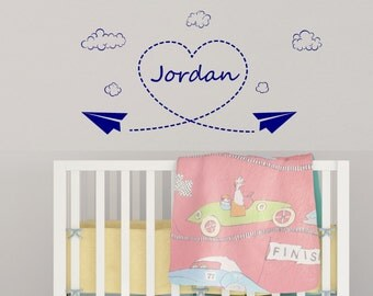 Nursery, Paper Airplane, Clouds, Aerospace, Personalized Name Vinyl Wall Decal, Heart, Sky Writing, Boy's Room,