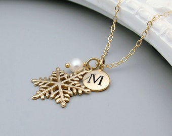 Personalized Gold Snowflake Necklace - 14k Gold Filled, Bronze Snowflake, Initial Necklace, Winter Wedding